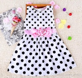 baby girls summer 2015 bowknot dress flower girl sweet dress children dot printing princess dresses kids clothing JL-3048 baby dress children summer dress kids clothing