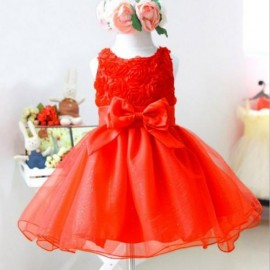 2015 Hot Sale Party Dress Baby Sizes Flower girl Dress with Pearls Big Bowknot 2Years to 9 Years Girls Dresses Children Wear JL-3106 baby girls dress princess dress kids clothing