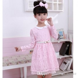 2015 baby girls lace dress children floral printing bowknot dresses flower girl princess dress kids fashion clothing JL-3117 baby girls dress princess dress kids clothing