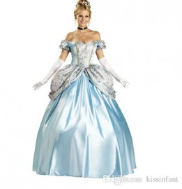 Cinderella prom dresses. adult blue short-sleeved part clothes Sissi Halloween dress and gloves Birthday gifts Cinderella discount clothes Cheap T-shirt